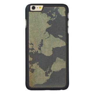 Coque En Érable iPhone 6 Plus Carte de toile bleue du monde