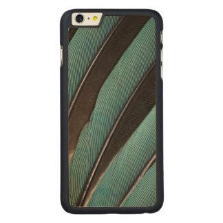 Coque En Érable iPhone 6 Plus Éventée conception bleue de plume