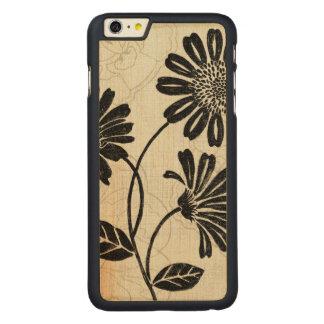 Coque En Érable iPhone 6 Plus Floral contemporain en noir et blanc