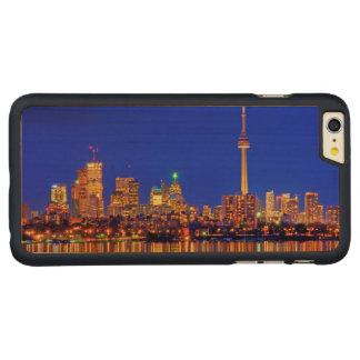 Coque En Érable iPhone 6 Plus Horizon du centre de Toronto la nuit