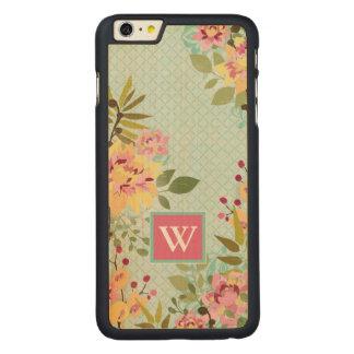 Coque En Érable iPhone 6 Plus Jardin floral, arrière - plan bleu