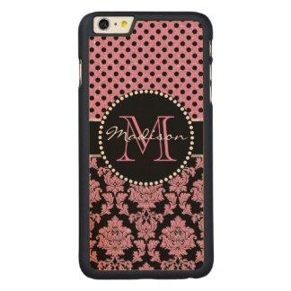 Coque En Érable iPhone 6 Plus Parties scintillantes roses et damassé noire, nom