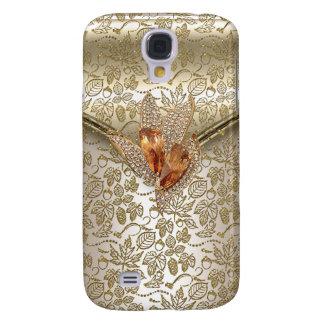 Coque Galaxy S4 Ambre beige d'or de crème de caramel de damassé