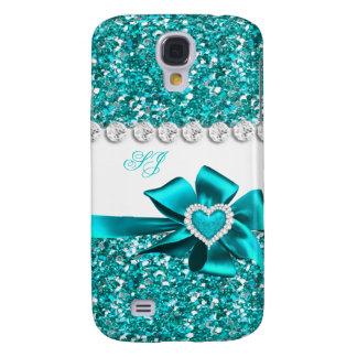 Coque Galaxy S4 Arc turquoise chic élégant de monogramme de regard