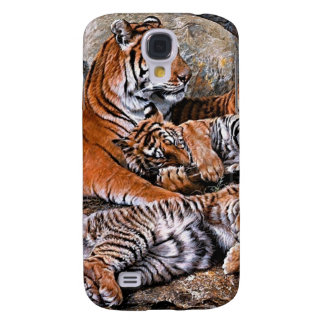 Coque Galaxy S4 Art de petit-tigre de famille-tigre de