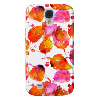 Coque Galaxy S4 Beau motif de feuille d'automne d'aquarelle