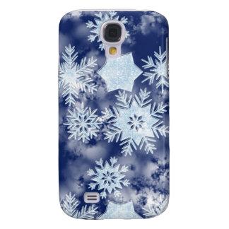 Coque Galaxy S4 Bleu glacial de flocons de neige d'hiver