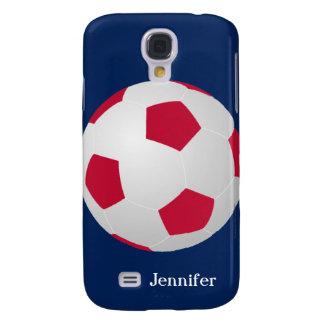 Coque Galaxy S4 Caisse, ballon de football, rouge, blanc, et bleu