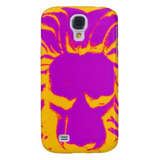 Coque Galaxy S4 Caisse pourpre et orange de lion de jungle de