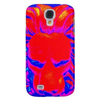 Coque Galaxy S4 Caisse rouge et bleue de lion de jungle de