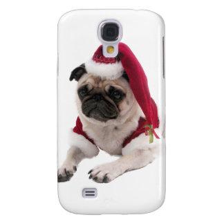Coque Galaxy S4 Carlin de Noël - chien du père noël - poursuivez
