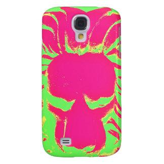 Coque Galaxy S4 Cas de téléphone de rose et de vert de lion de