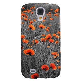 Coque Galaxy S4 Champ de coquelicots rouge et noir
