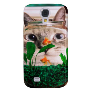 Coque Galaxy S4 Chat et poissons - chat - chats drôles - chat fou