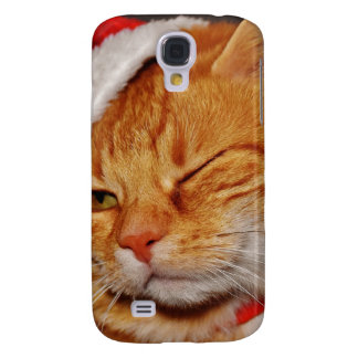 Coque Galaxy S4 Chat orange - chat du père noël - Joyeux Noël