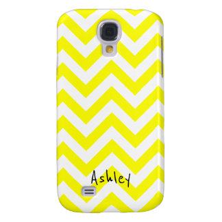 Coque Galaxy S4 Chevron jaune et blanc avec le nom fait sur