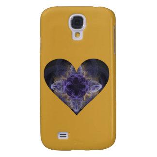 Coque Galaxy S4 Coeur--Art pourpre de fractale entouré avec de