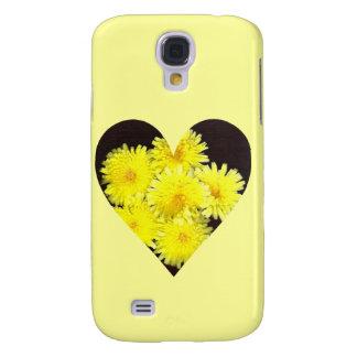 Coque Galaxy S4 Coeur jaune de fleurs sauvages sur l'arrière -