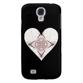 Coque Galaxy S4 Coeur rose de fractale sur le noir