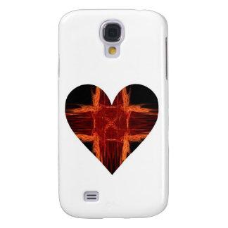 Coque Galaxy S4 Coeur rouge brûlant d'art de fractale d'orteil de