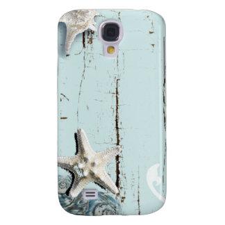 Coque Galaxy S4 Coquillages bleus d'étoiles de mer d'aqua en bois