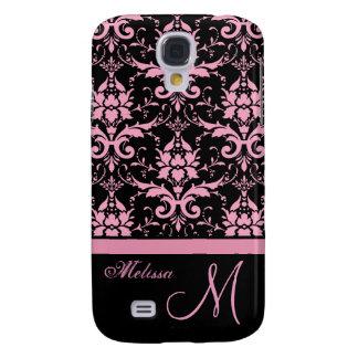 Coque Galaxy S4 Damassé rose et noire de victorian, nom et