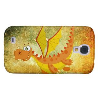 Coque Galaxy S4 Dragon sur une texture orange