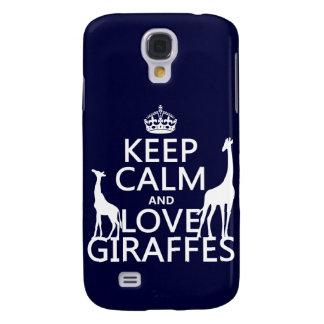 Coque Galaxy S4 Gardez le calme et aimez les girafes - toutes les