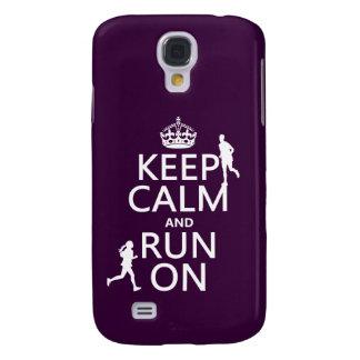 Coque Galaxy S4 Gardez le calme et courez sur (les couleurs