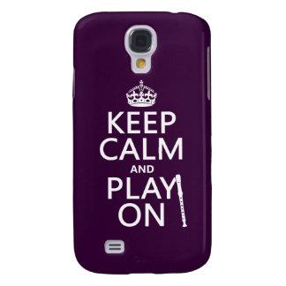 Coque Galaxy S4 Gardez le calme et le jeu sur (enregistreur)