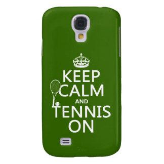 Coque Galaxy S4 Gardez le calme et le tennis sur (toute couleur