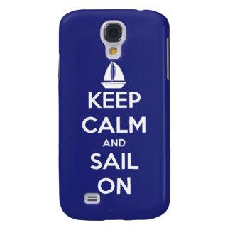 Coque Galaxy S4 Gardez le calme et naviguez sur le bleu