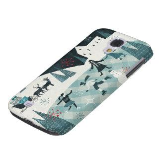 Coque Galaxy S4 Joyeuse scène de patinage de Christmastime