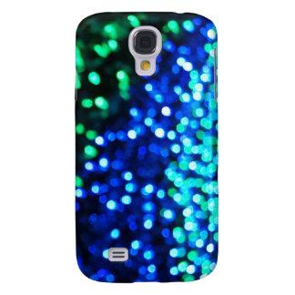 Coque Galaxy S4 Lumières bleues et vertes de Bokeh
