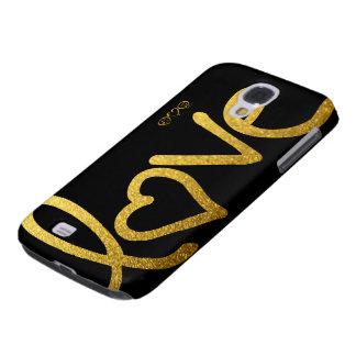 Coque Galaxy S4 Noir et amour d'or