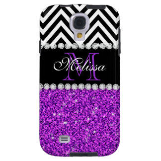 COQUE GALAXY S4 NOIR POURPRE CHEVRON DE PARTIES SCINTILLANTES