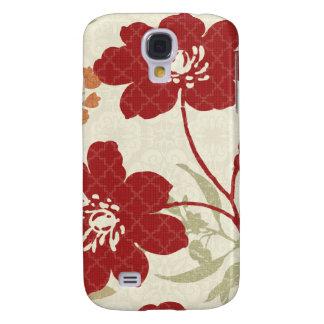 Coque Galaxy S4 Ombres florales en rouge et orange