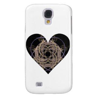 Coque Galaxy S4 Or et conception en spirale bleue de coeur d'art