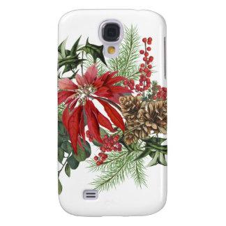 Coque Galaxy S4 poinsettia vintage moderne de vacances florale