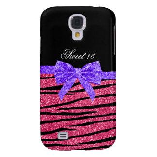 Coque Galaxy S4 Rayures roses de zèbre de parties scintillantes du
