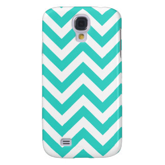 Coque Galaxy S4 Turquoise et Chevron blanc
