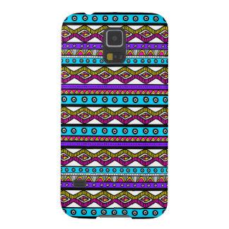 Coque Galaxy S5 Caisse aztèque Girly bleue pourpre rose de la