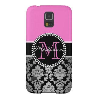 Coque Galaxy S5 Damassé noire de gris argenté, rose indien, nom