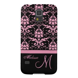Coque Galaxy S5 Damassé rose et noire de victorian, nom et