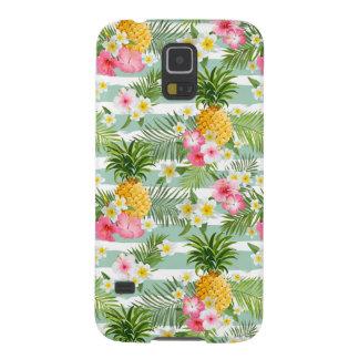 Coque Galaxy S5 Fleurs et ananas tropicaux sur les rayures