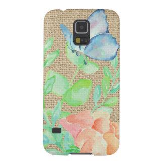 Coque Galaxy S5 Imaginaire de toile de jute de fleurs et de