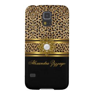 Coque Galaxy S5 Léopard chic élégant de noir d'or avec le bijou 2