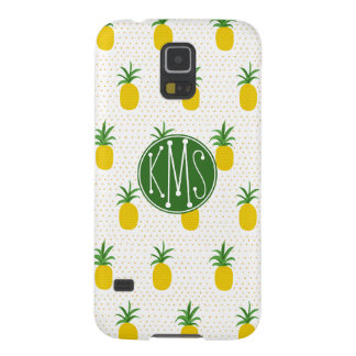Coque Galaxy S5 Monogramme tropical d'or des ananas |