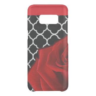 Coque Get Uncommon Samsung Galaxy S8 Rose rouge et motif de Quatrefoil