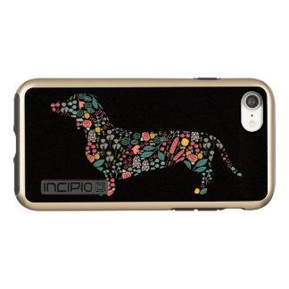 Coque Incipio DualPro Shine iPhone 8/7 Art floral d'aquarelle de motif de chien de